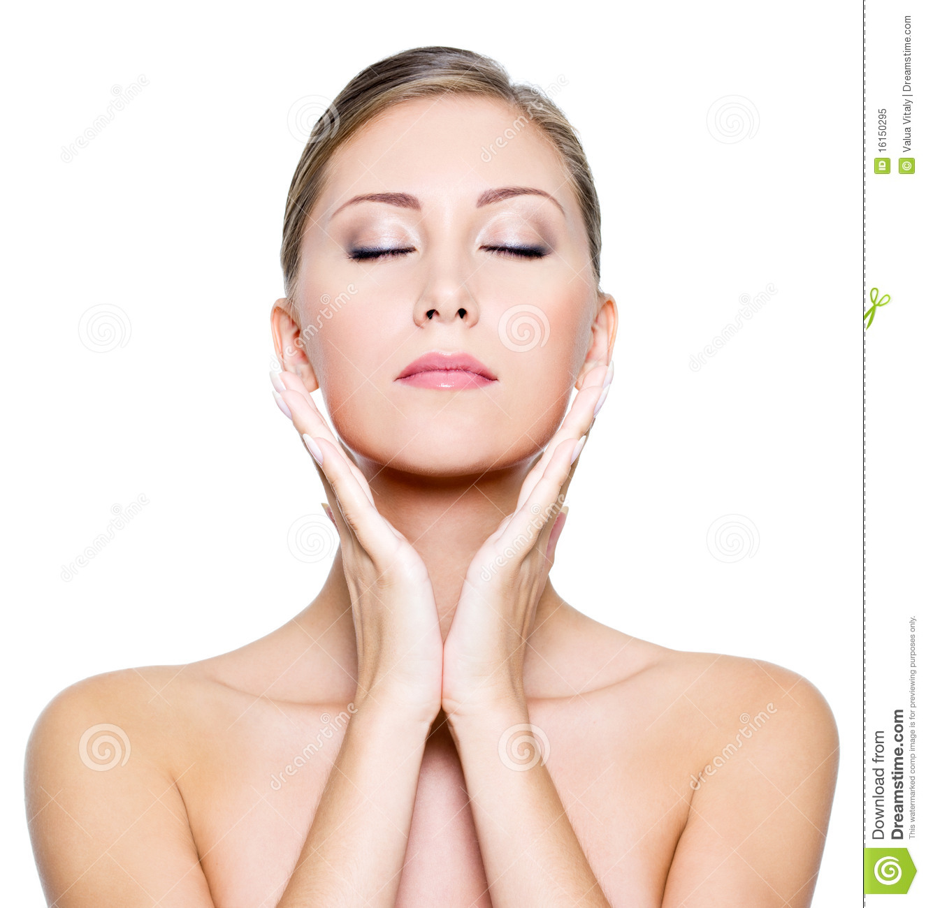 Face With Closed Eyes Of A Beautiful Woman Stock Image