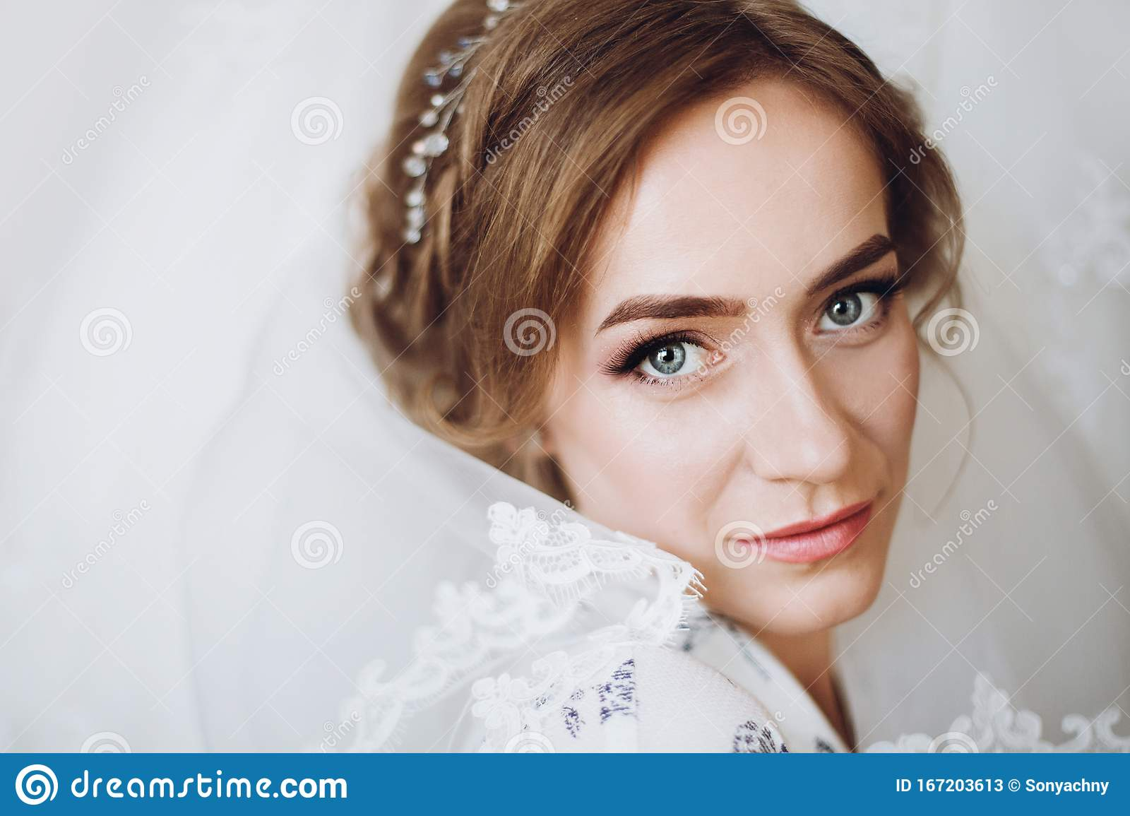 Face Closeup Of Gorgeous Bride With Makeup And Veil Beautiful Bride Portrait The Morning Before The Wedding Stock Image Image Of Beautiful Caucasian 167203613