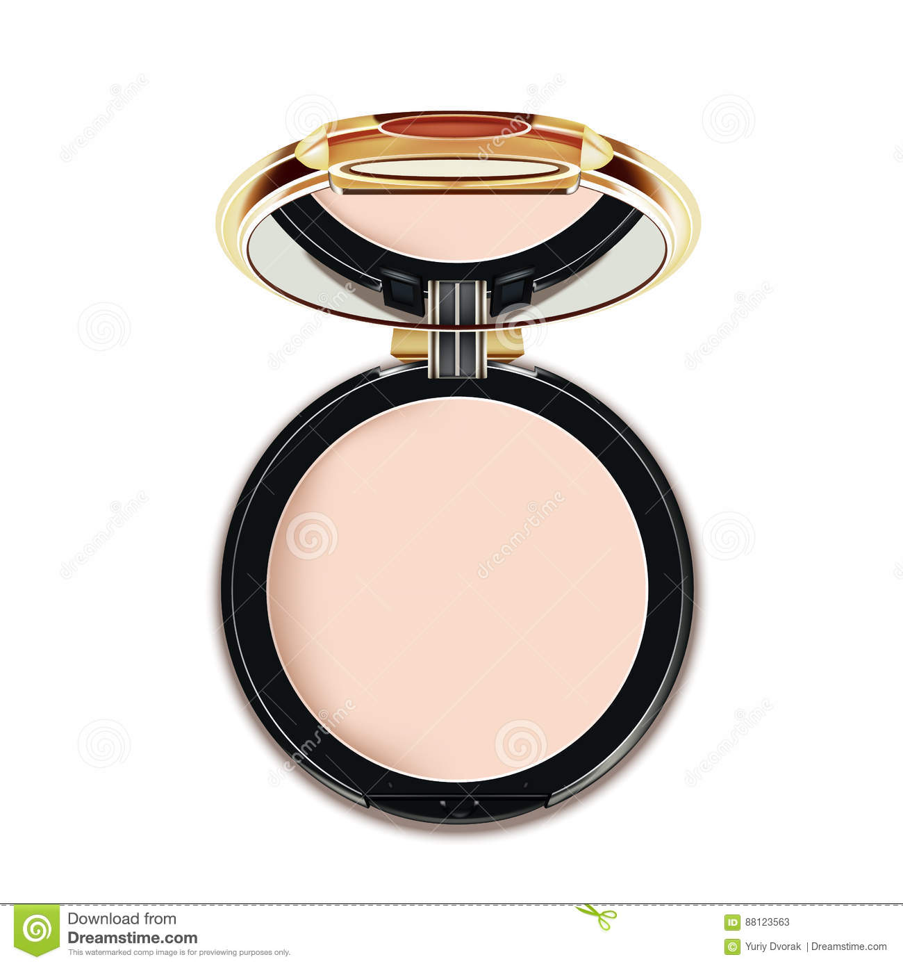 Face Cosmetic Makeup Powder in Black and gold Case with Mirror Top View on White Background. Vector.