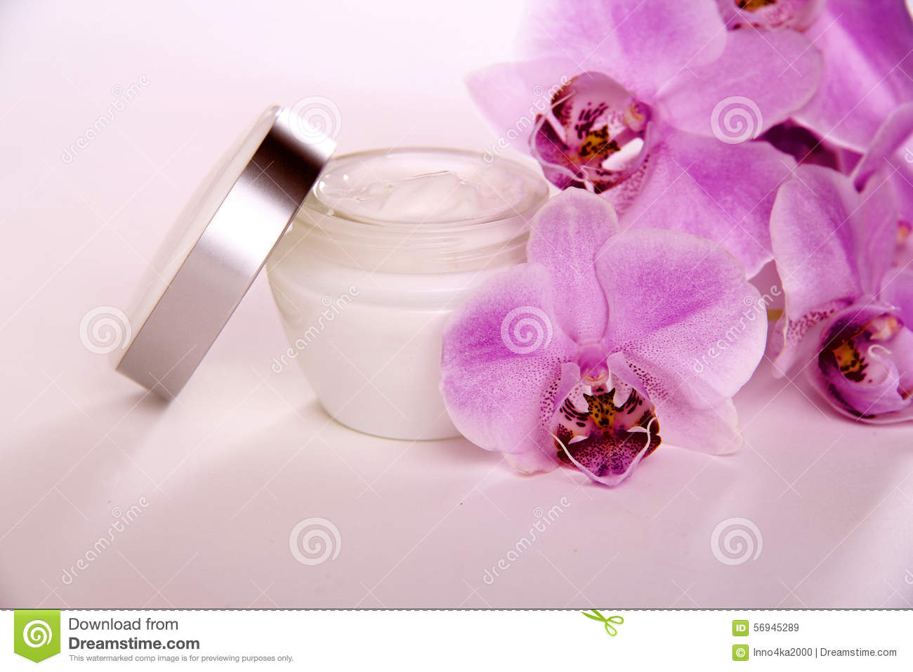 Face Cream And Purple Orchid Flower Stock Image Image Of Ointment