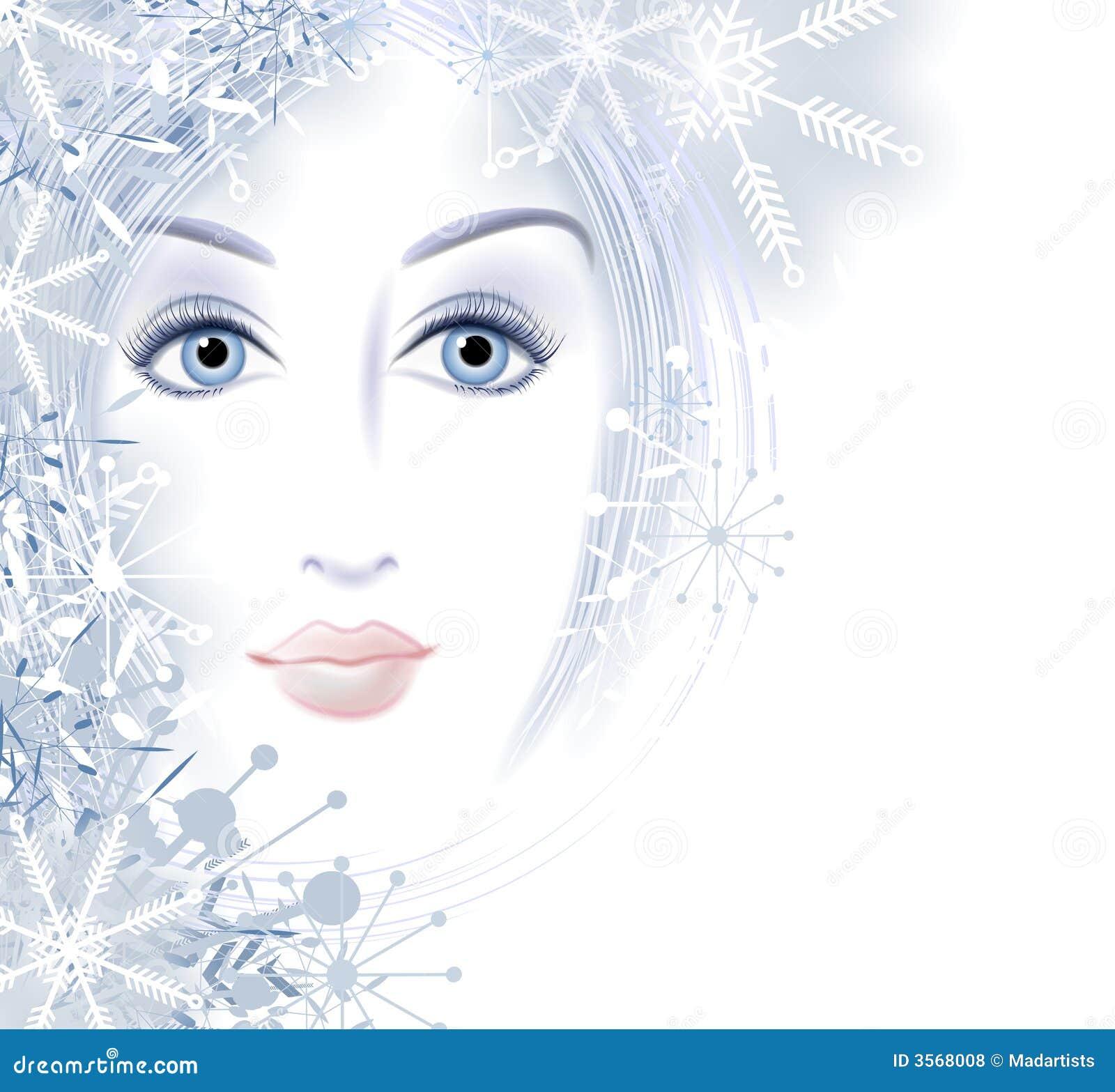 Face Da Beleza Do Inverno Da Mulher 3568008