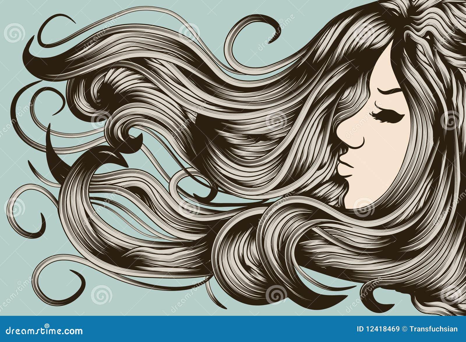 Face Da Mulher Com Cabelo Detalhado Imagens De Stock