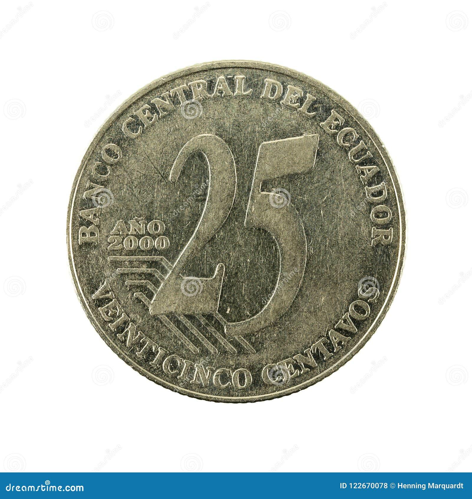 25 face de la pièce de monnaie 2000 de centavo d ecuadorian
