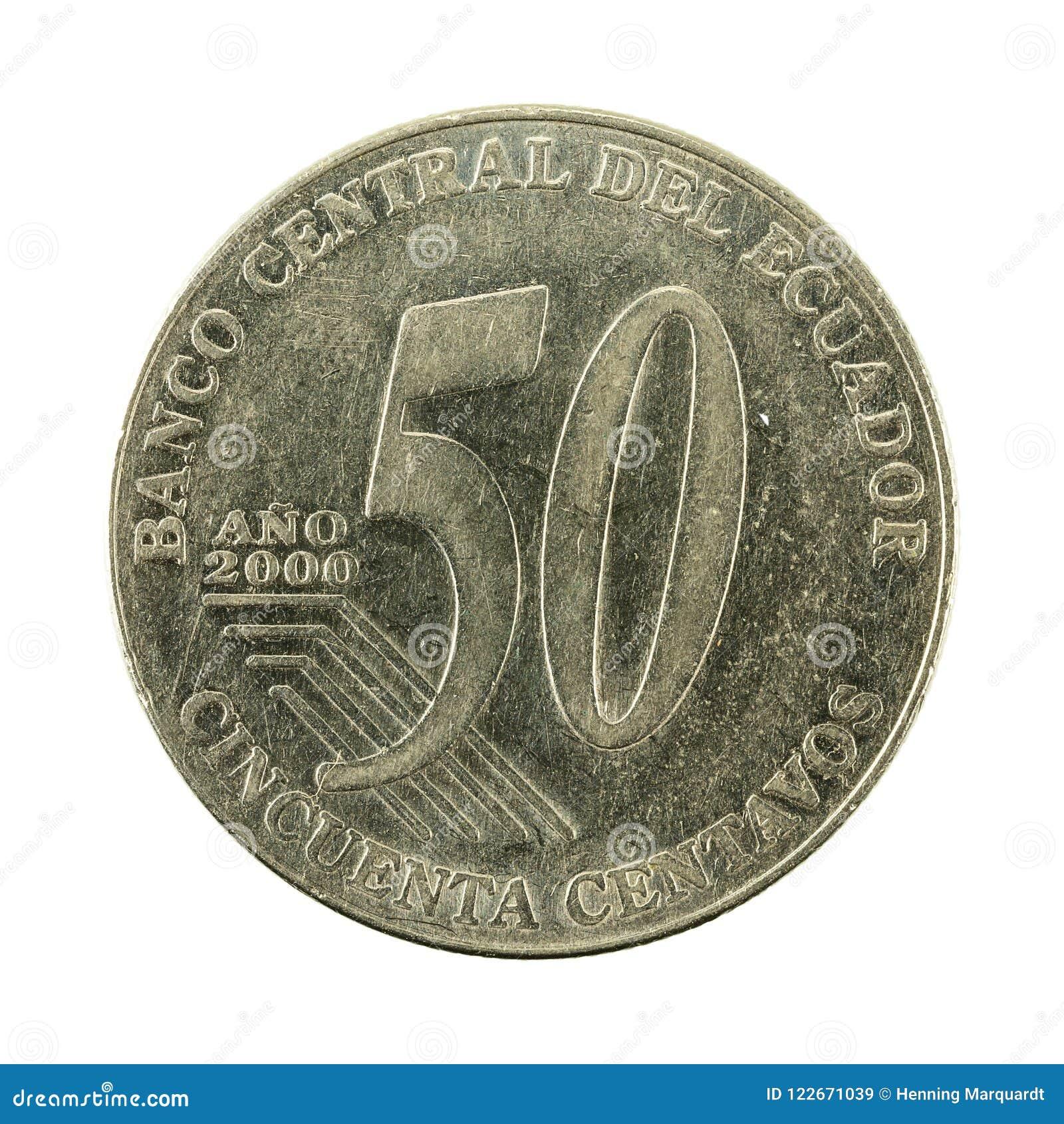 50 face de la pièce de monnaie 2000 de centavo d ecuadorian