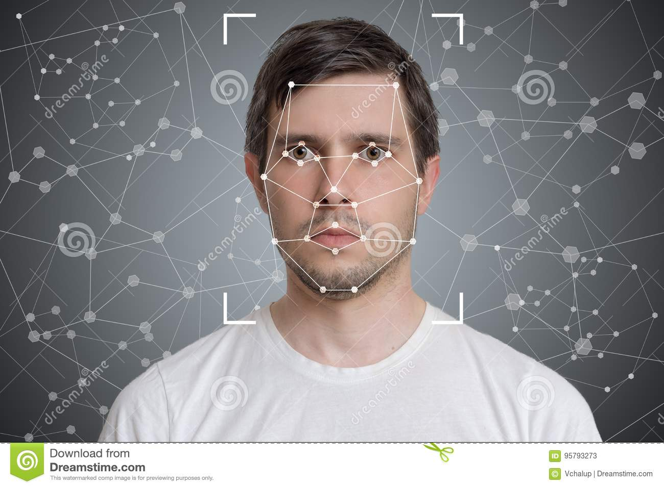 Face detection and recognition of man. Computer vision and artificial intelligence concept