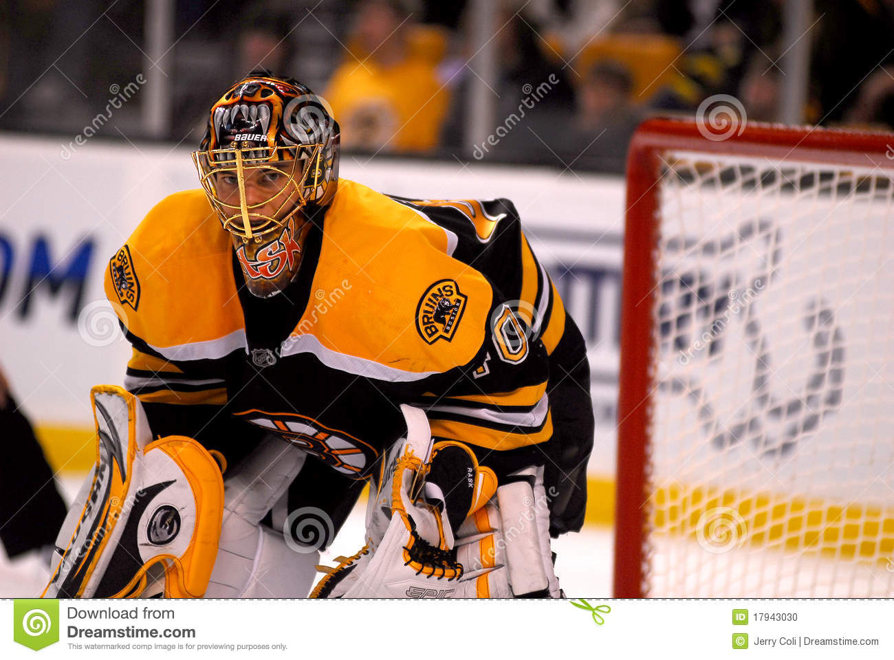 Rask is all business as he waits for a face in his end of the iceDetermination Face