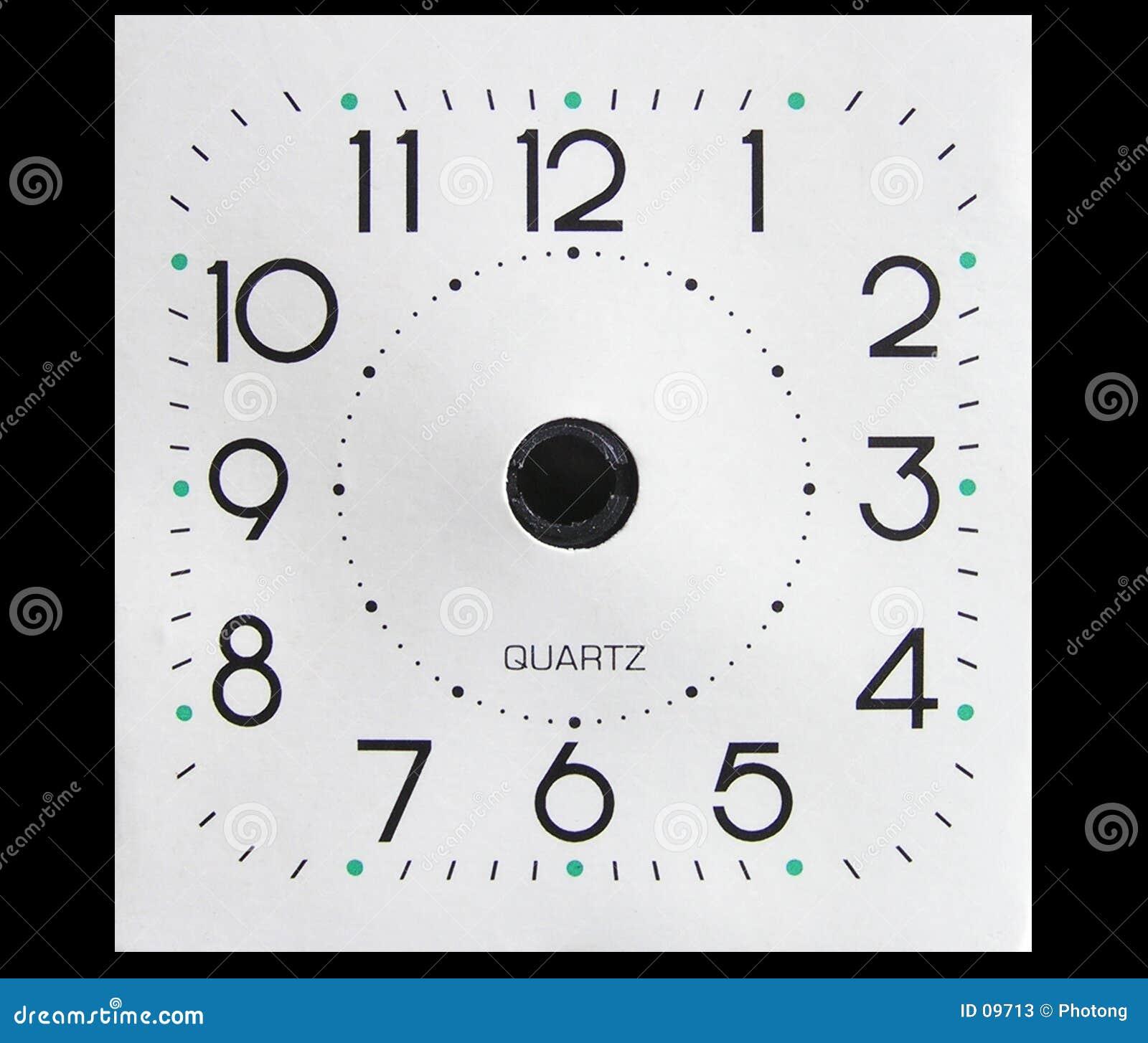 Face do relógio sem mãos