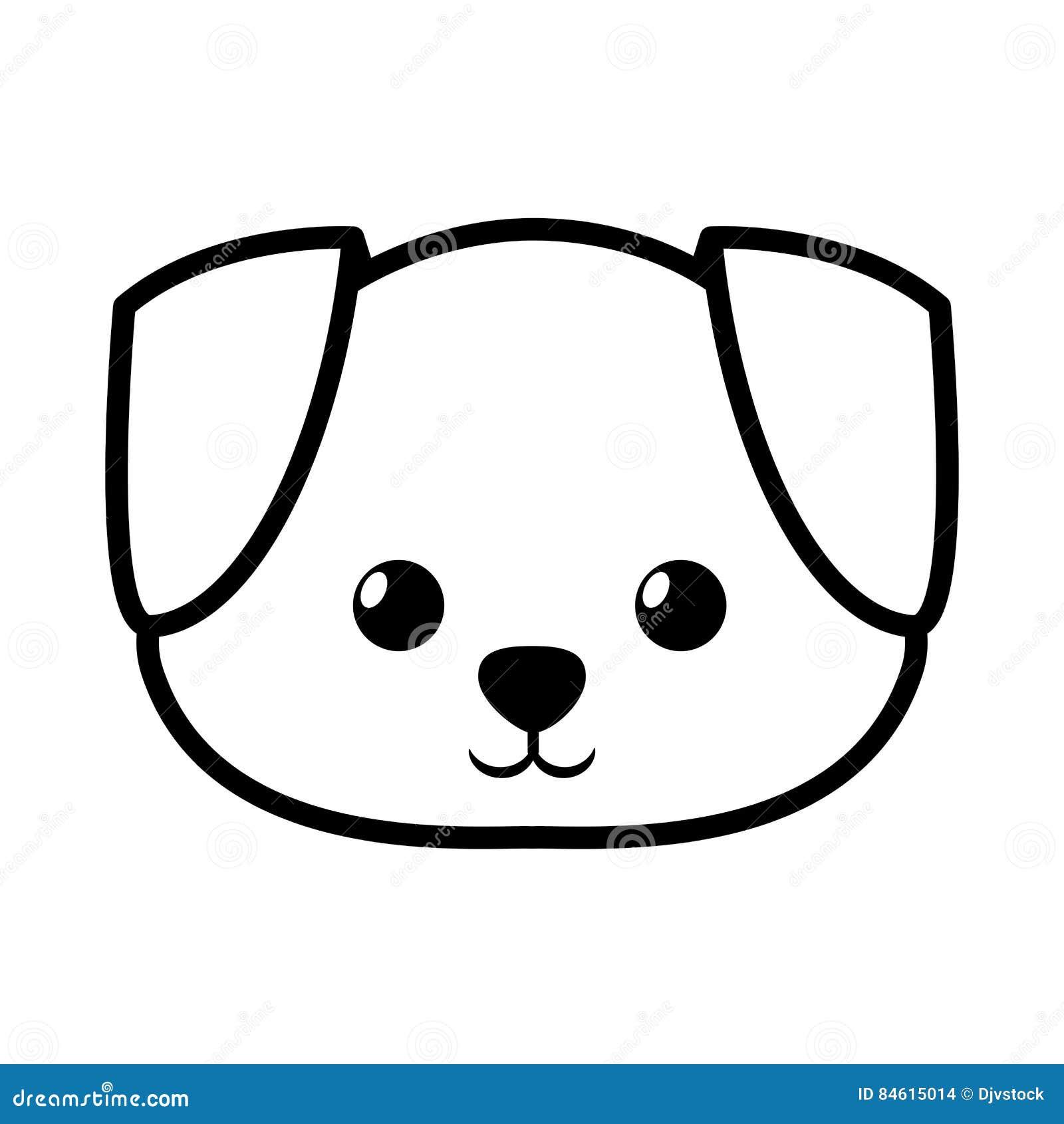 Line Drawing Of A Dog S Face : Face dog adorable pedigree outline stock illustration