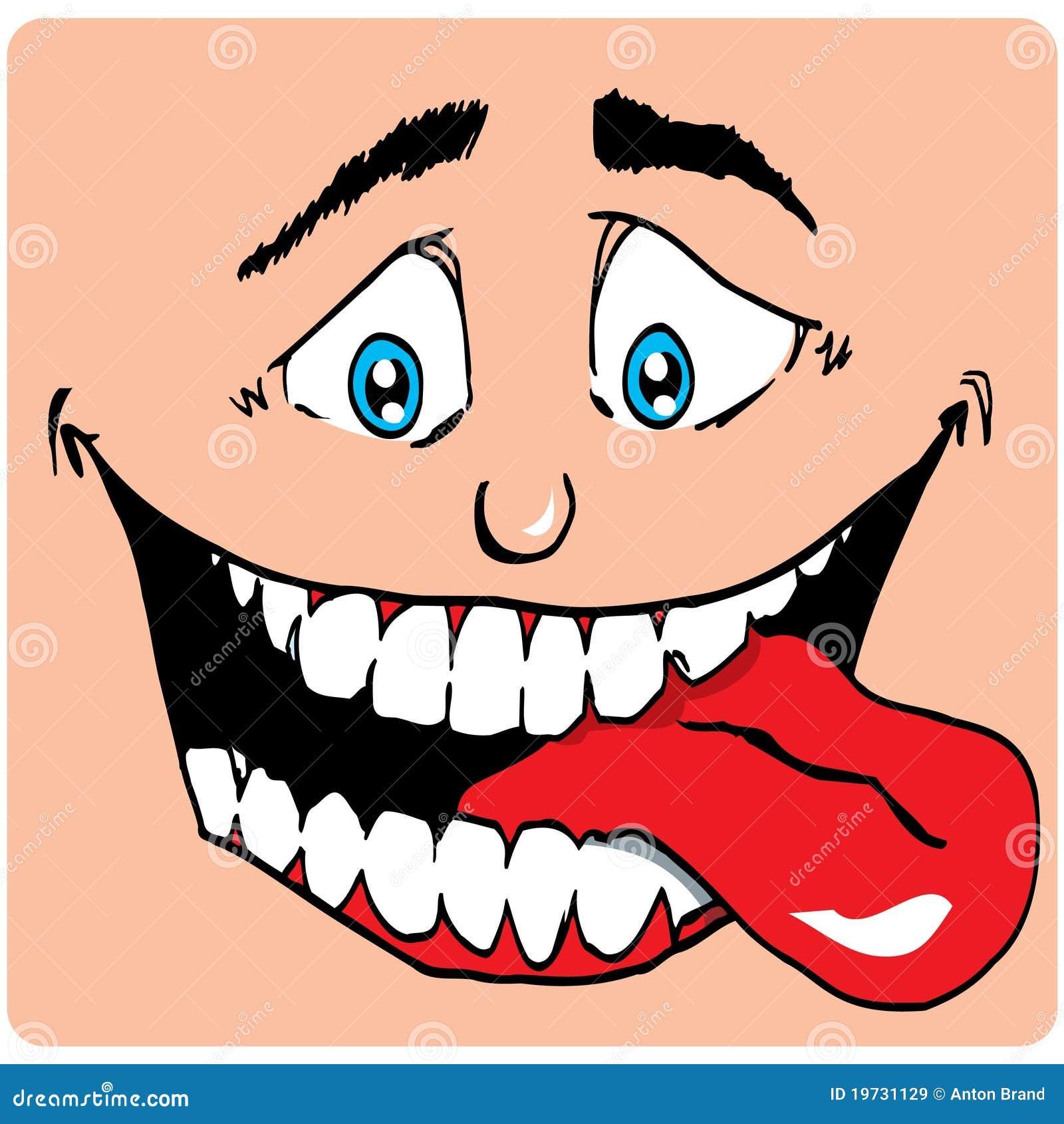 face dos desenhos animados do homem com uma boca grande ilustração