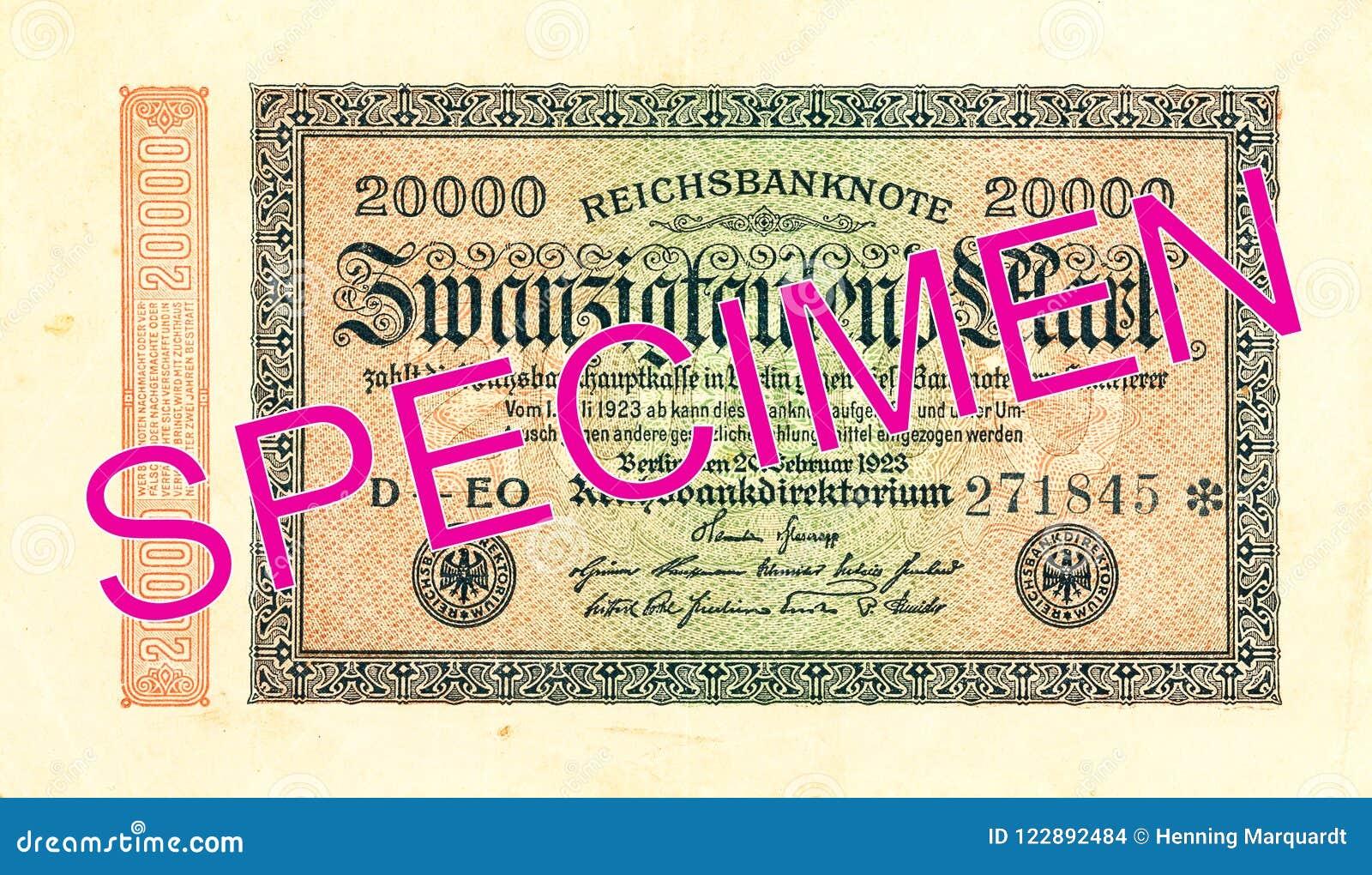 20000 face du billet de banque 1923 de mark de royaume