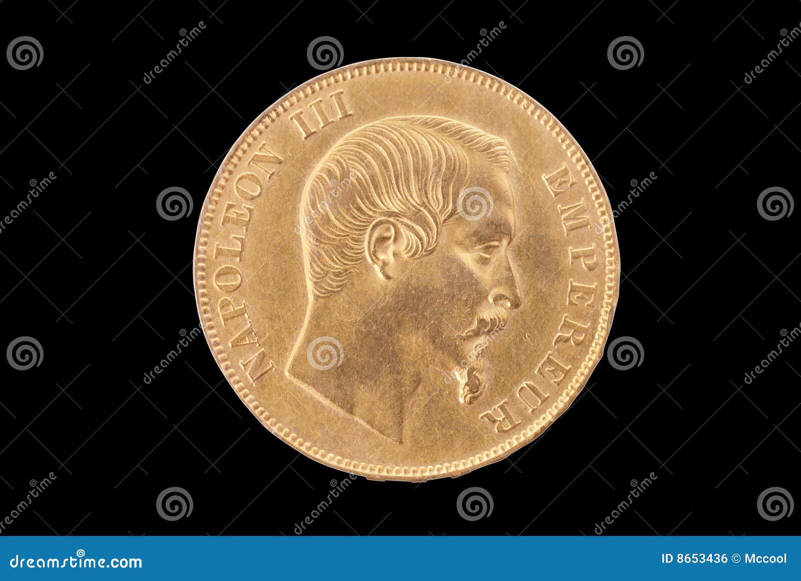Face française d or de 50 francs antiques de pièce de monnaie