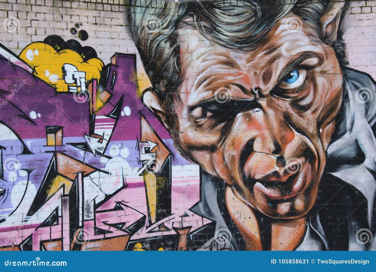 A graffiti face of man