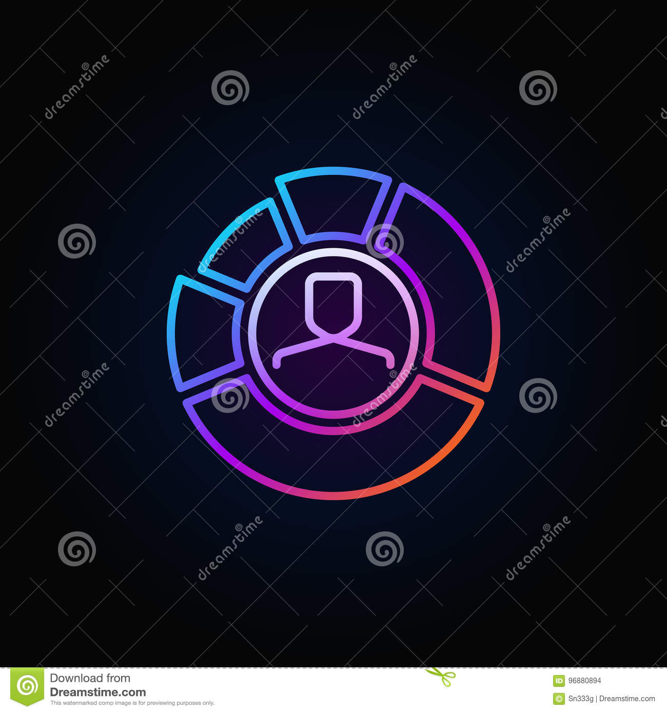 face inside chart colorful icon stock vector illustration offace inside chart colorful icon man in diagram business vector sign or logo element in thin line style dark background