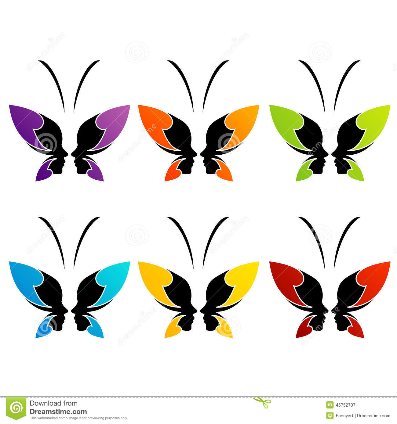 face of a lady and butterfly stock vector image 45752707