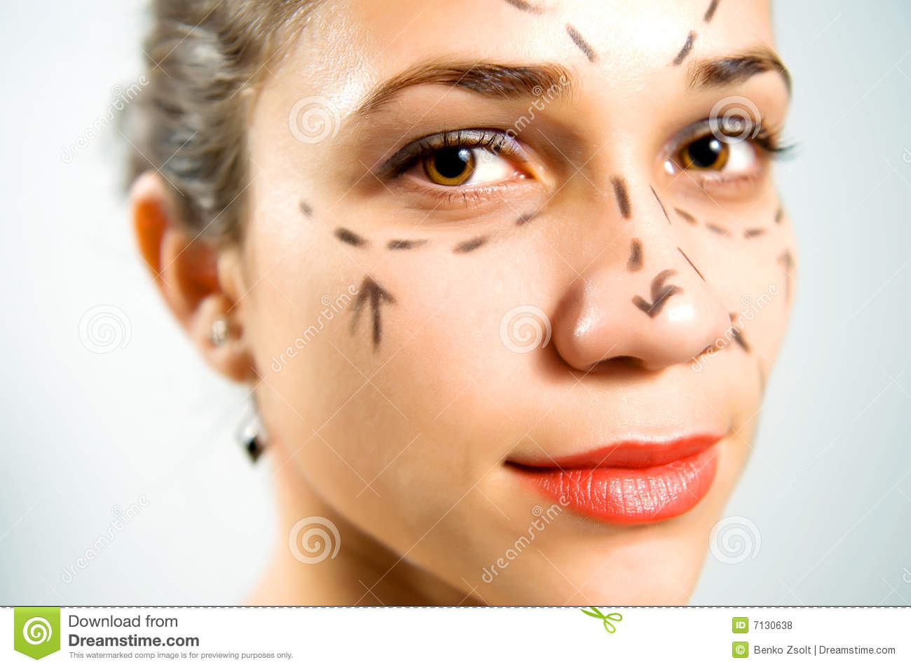 Face With Lines For Plastic Surgery Stock Photo Image Of