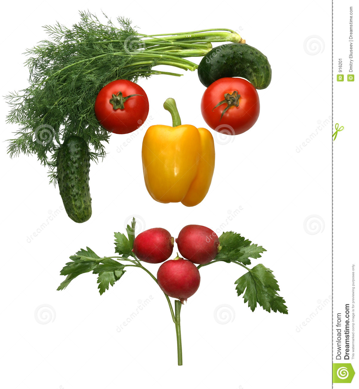 Face Made Out Of Different Vegetables Stock Image - Image: 916201