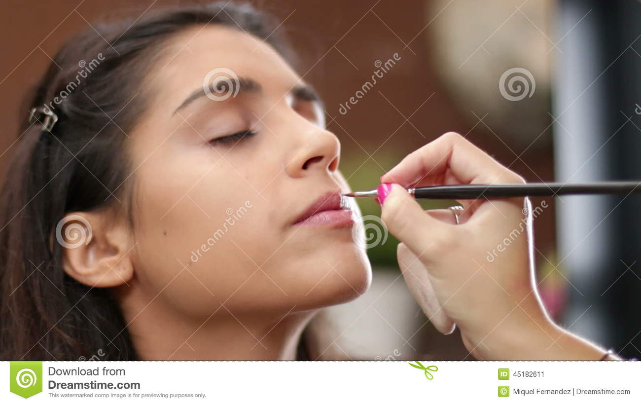 Face Makeup Making Lips Brush Stock Video - Video of adult