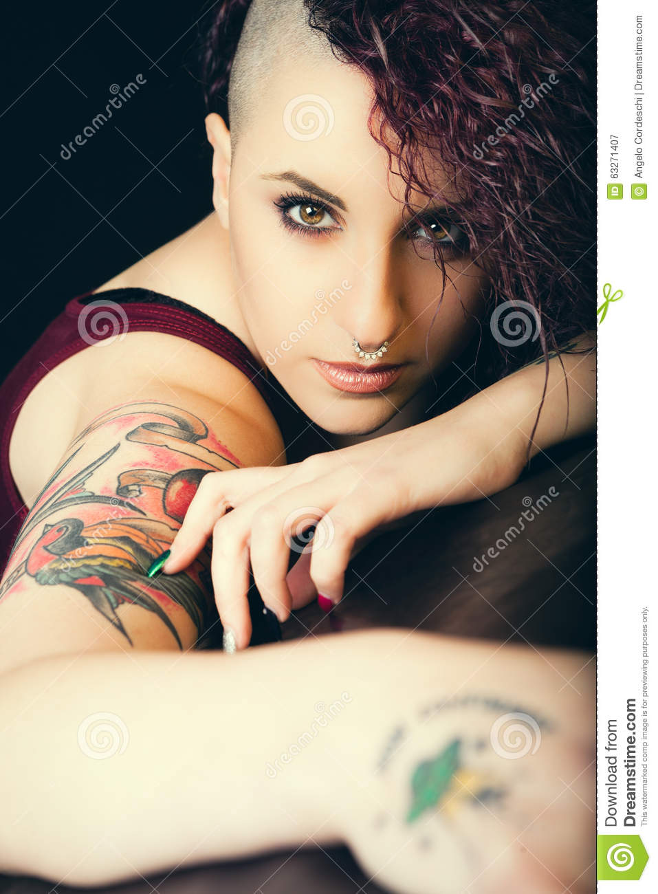 Face makeup and tattoos punk girl make up hair shaved for Clean rock one tattoos