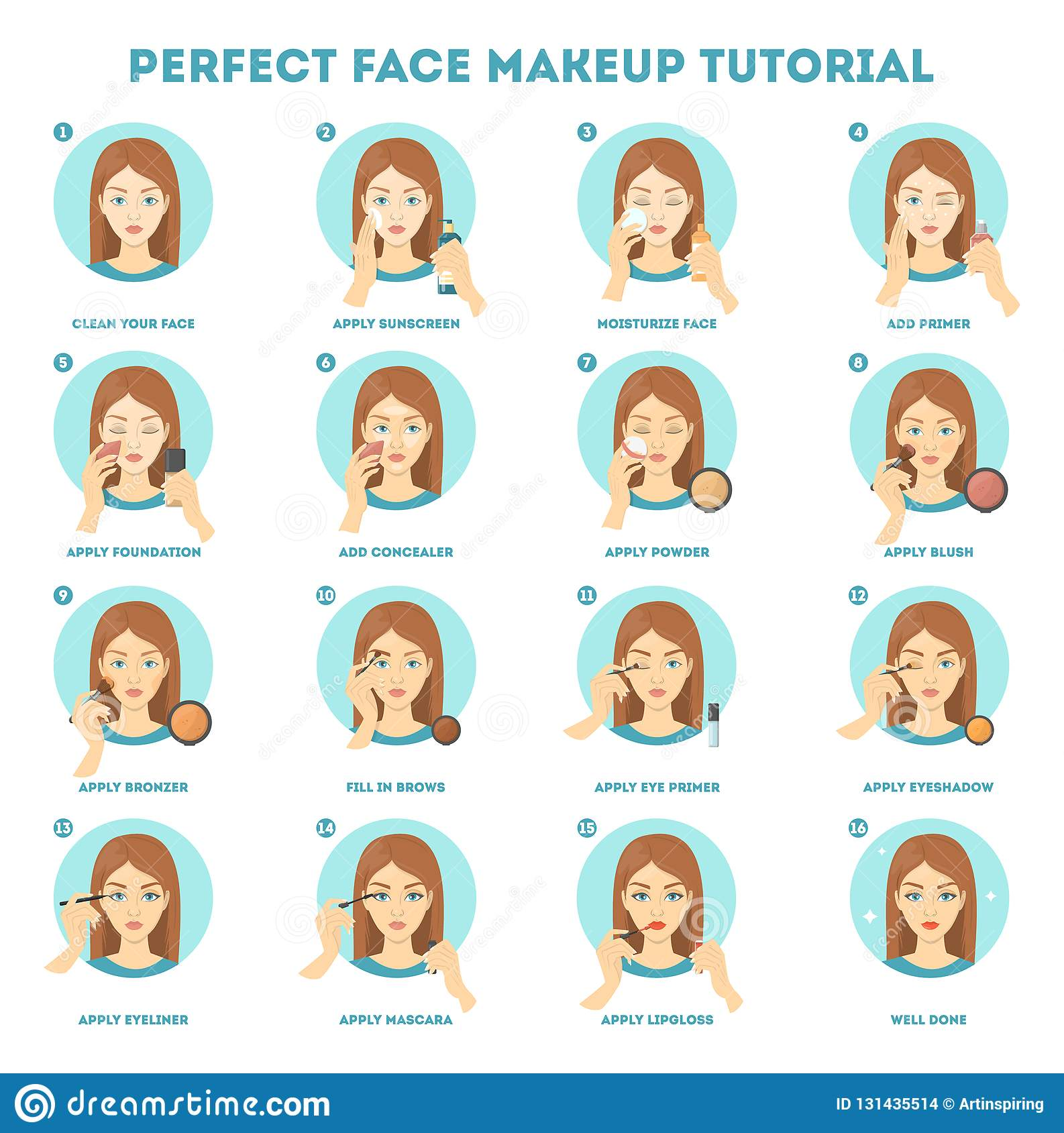 Face Makeup Tutorial For Woman Applying Powder Stock Vector Illustration Of Base Isolated 131435514