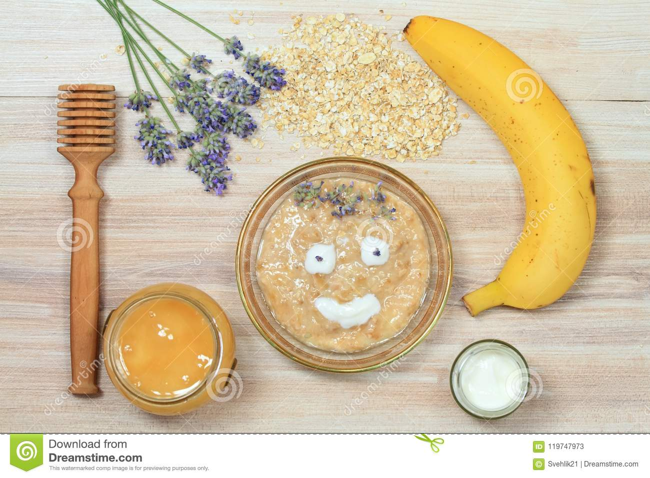 Ingredients for homemade facial mask decorated with lavender, flat lay