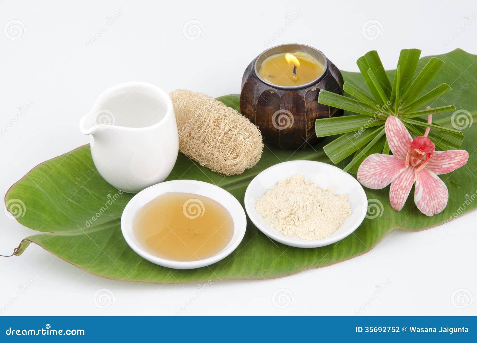 Face mask recipe with Tanaka, honey, water.