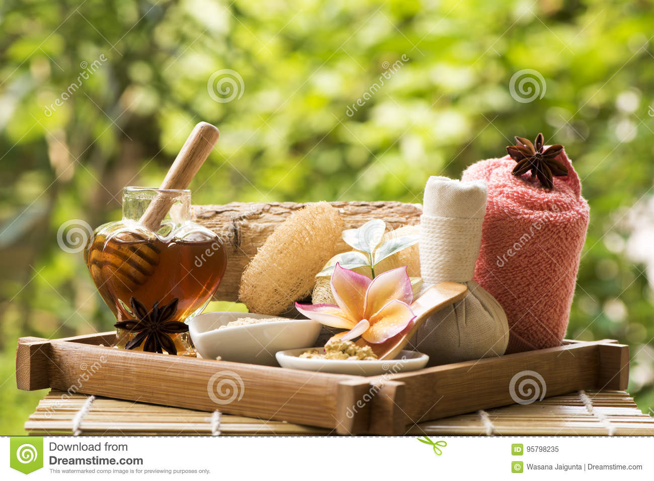 Face mask with Thanaka and honey , spa treatments on natural background.