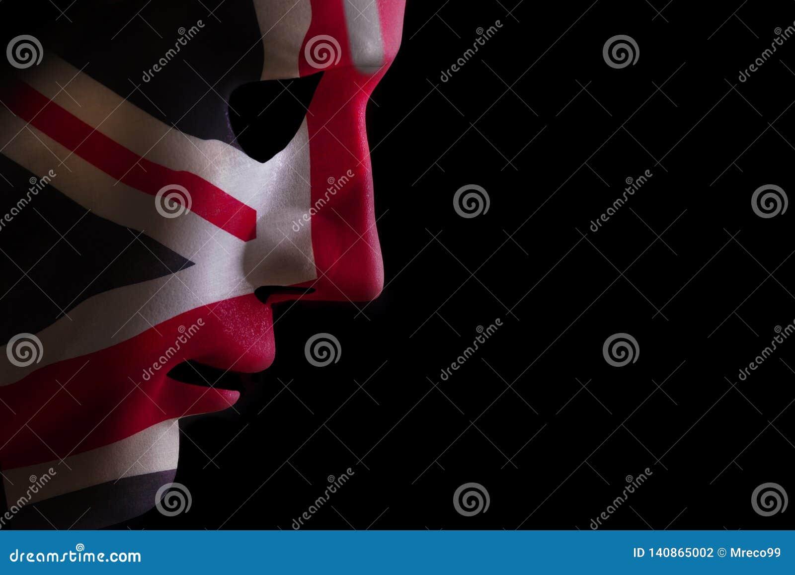 Face mask union jack flag on black