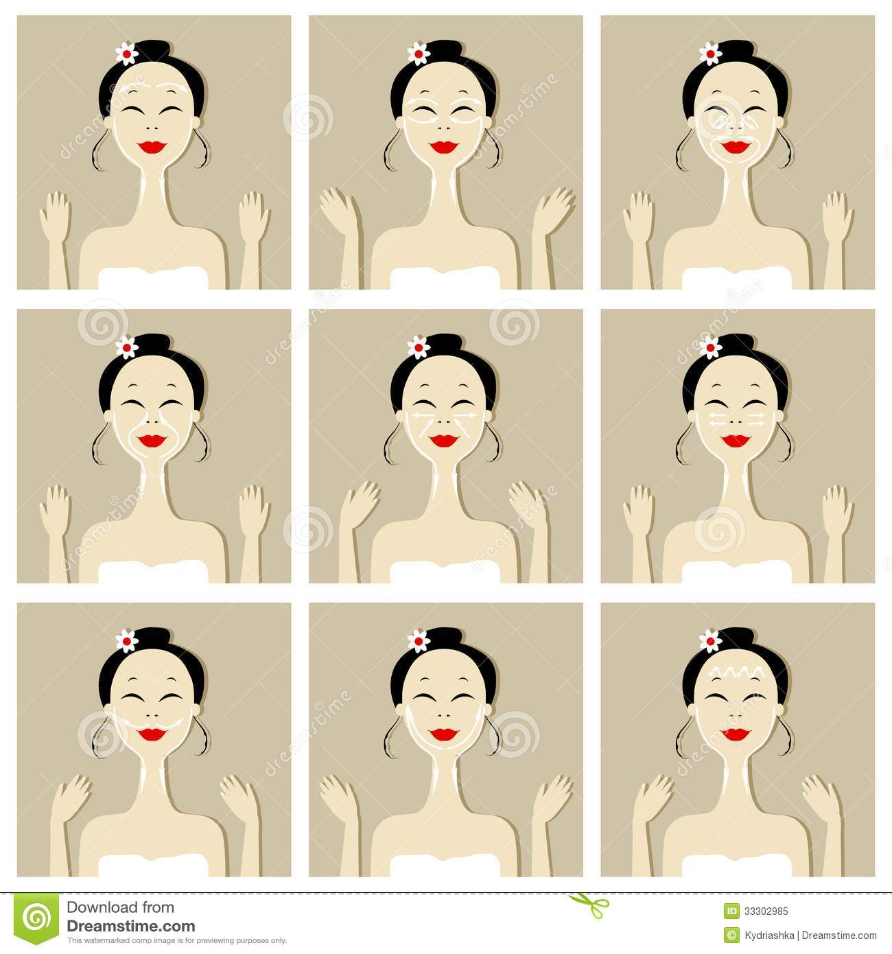 Face Massage Illustration With Asian Woman For