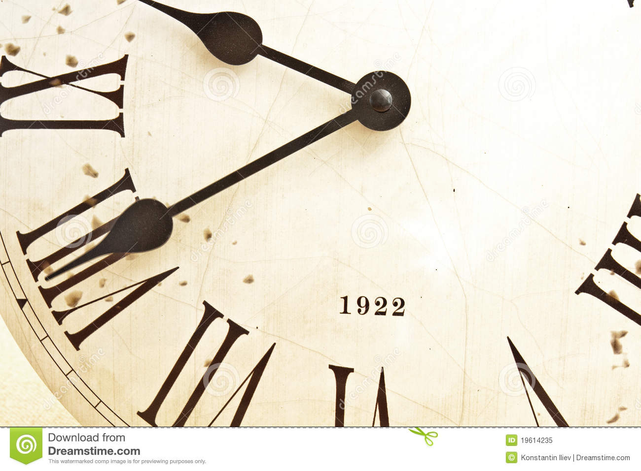 Face of the old clock