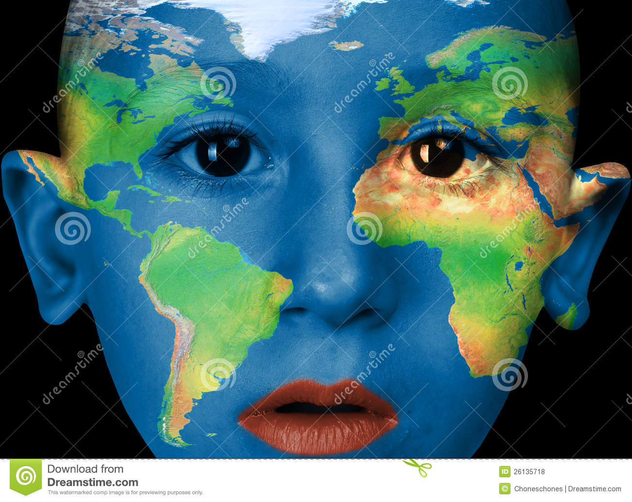 Face Paint  america, Africa, Europa Stock Photo   Image of