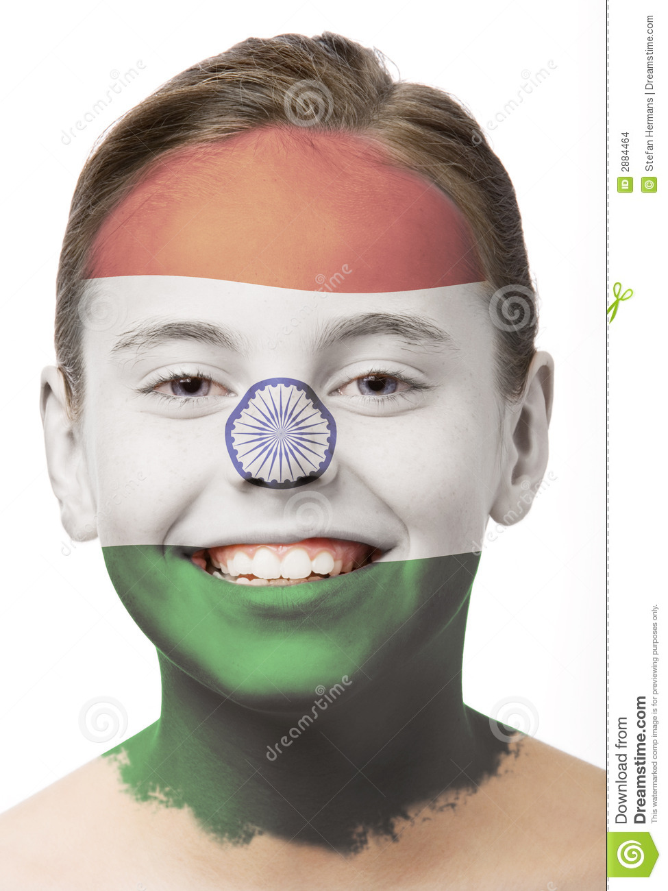 Face Paint Flag Of India Stock Images Image 2884464