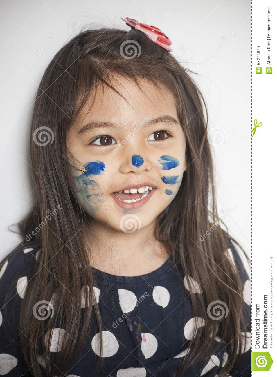 face painted by mommy stock photo image 58274929. Black Bedroom Furniture Sets. Home Design Ideas