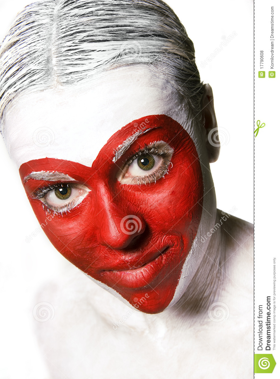 Face Painted Red Heart Shape Royalty Free Stock Photos