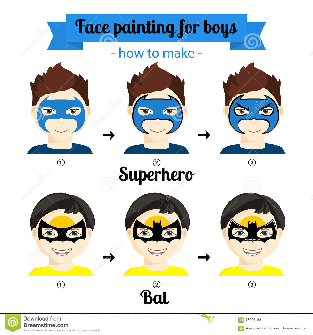 Face Painting Boys 4 Stock Illustration Illustration Of Paint