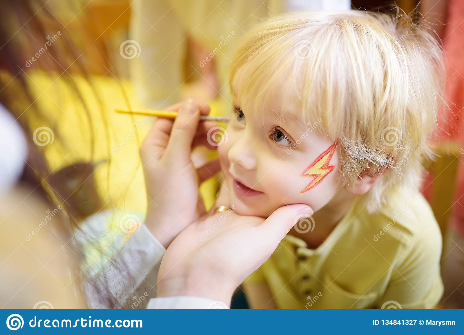Face Painting For Cute Little Boy During Kids Merriment Stock Image Image Of Child Animation 134841327