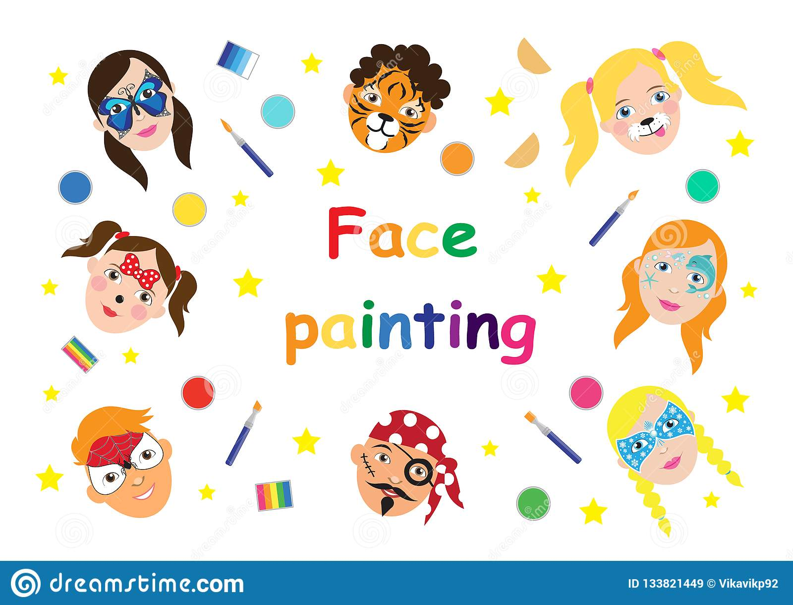 Face Painting For Kids Collection Set Of Icons In Cartoon Flat
