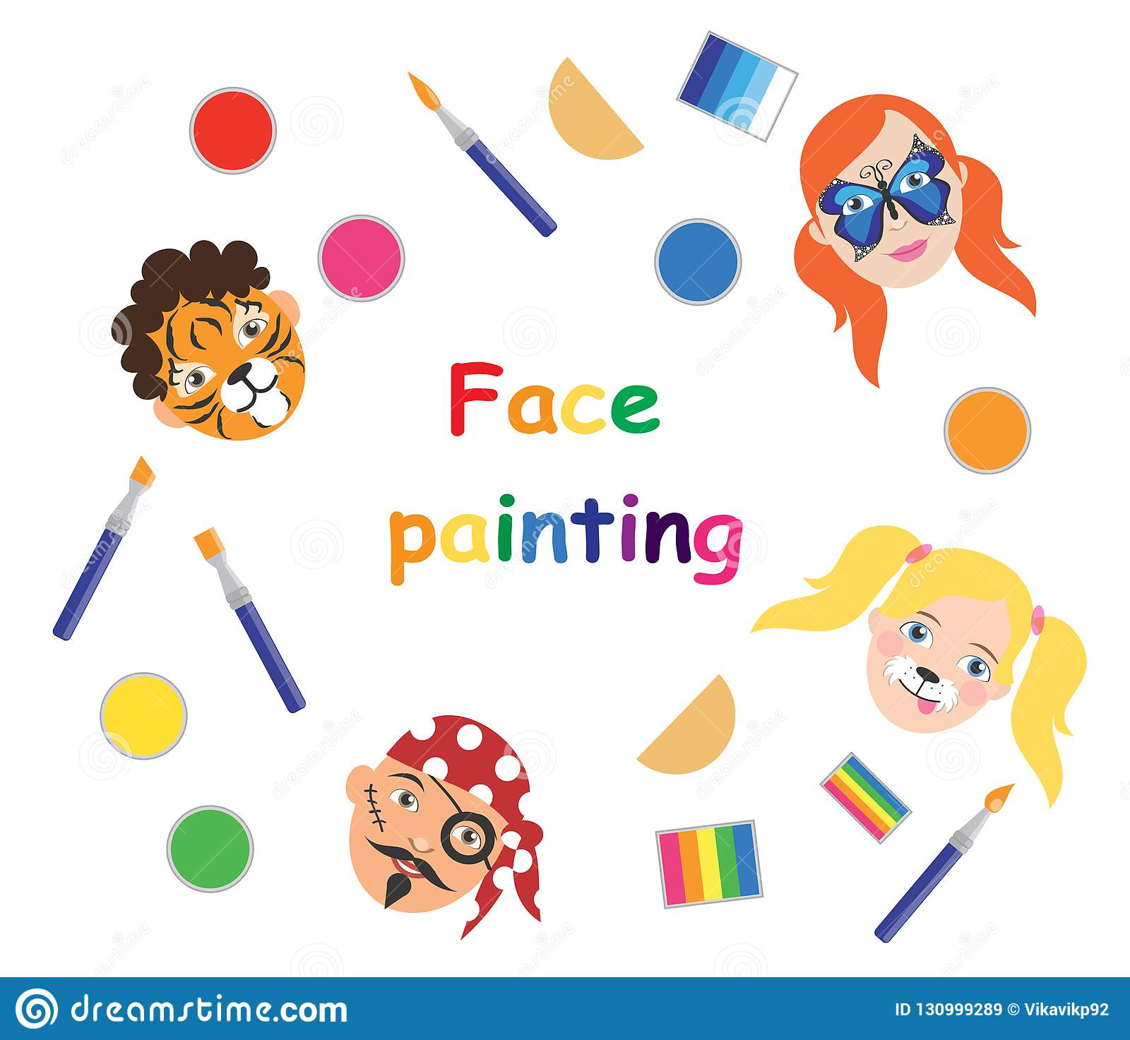 Face painting for kids poster collection vector illustration eps10