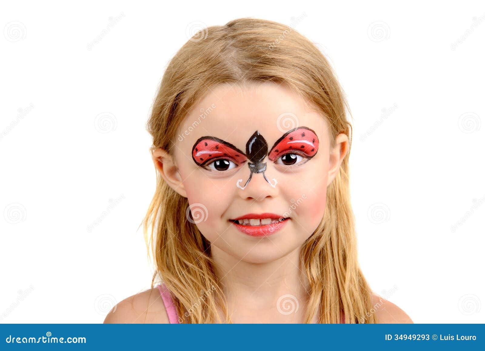 face painting ladybug stock photos image 34949293. Black Bedroom Furniture Sets. Home Design Ideas