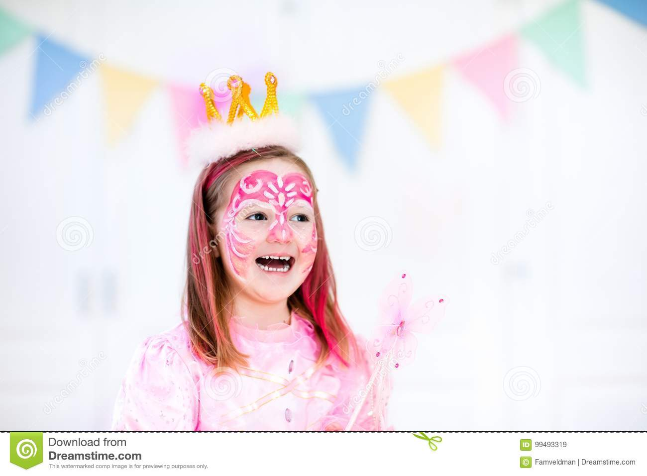 face painting for little girl birthday party stock image image of