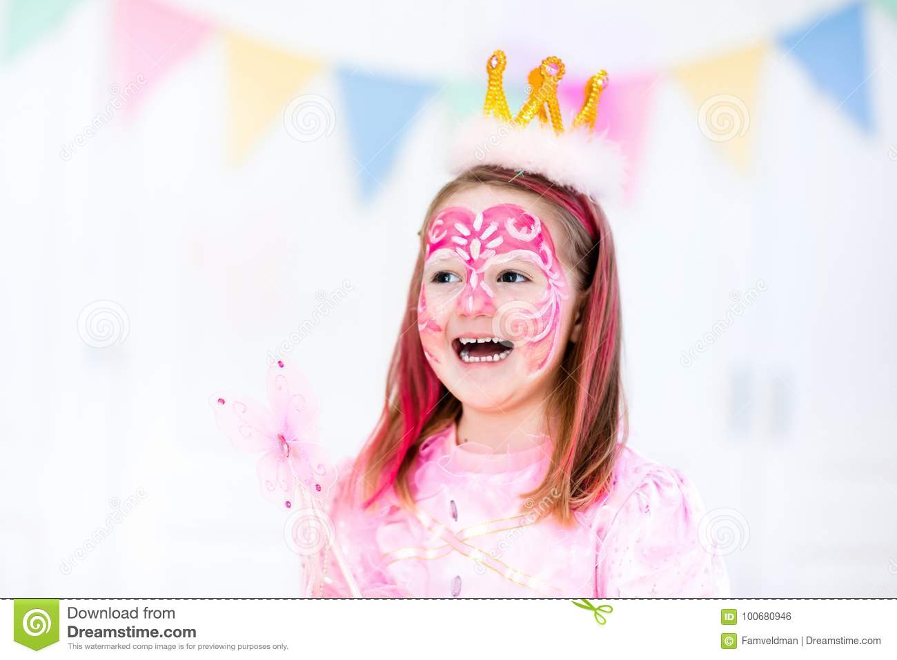 face painting for little girl birthday party stock photo image of