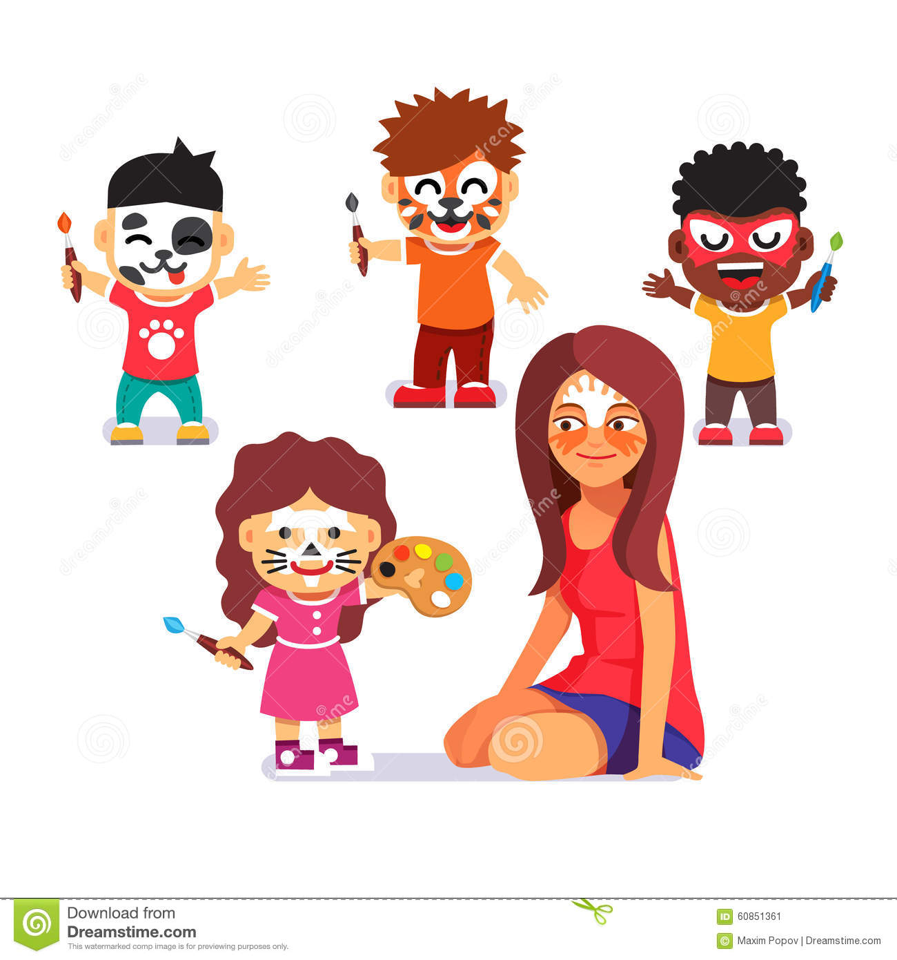 Face Painting Party Kids Drawing Characters Stock Vector Image
