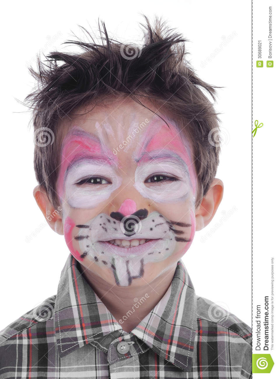 Face painting of rabbit stock image image 30689021 - Pintura para cara ninos ...