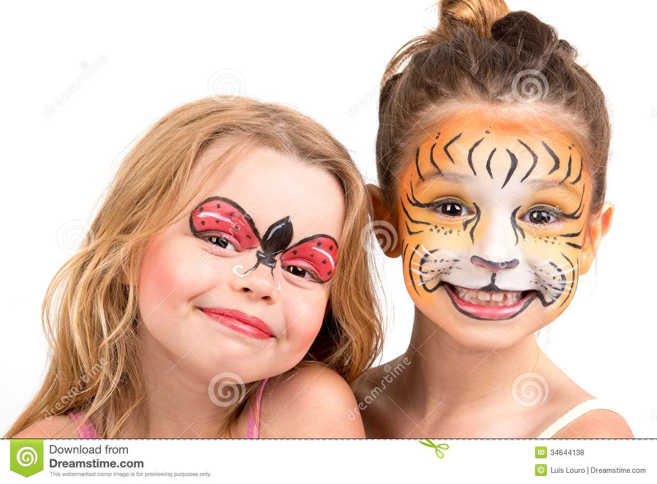 Face Painting Tiger And Ladybug Royalty Free Stock Photos