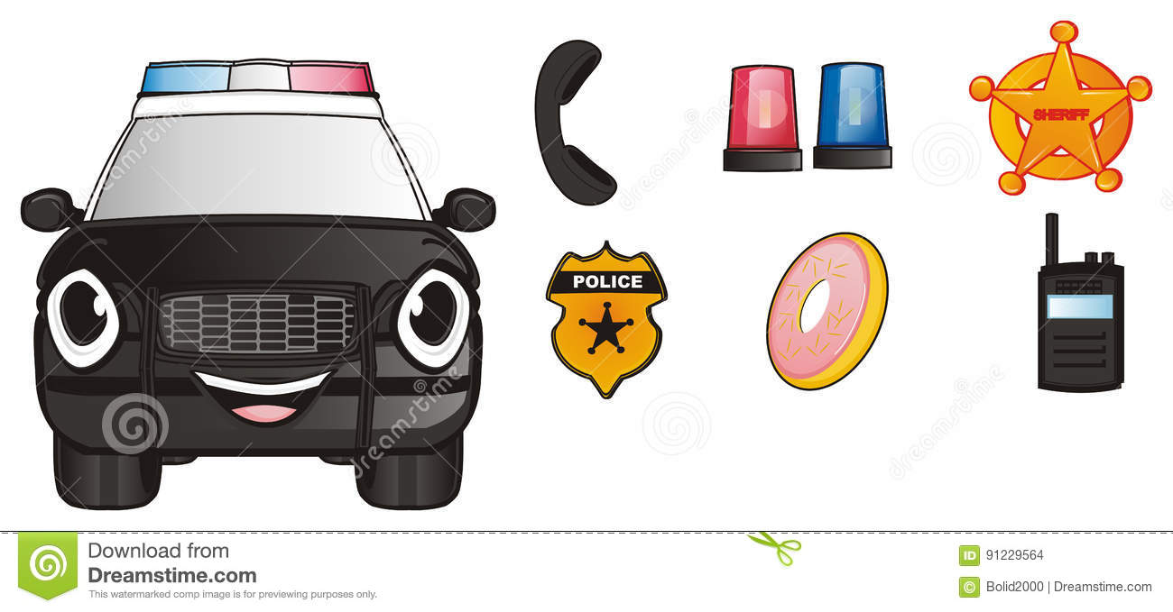 Face Of Police Car With Symbols Stock Illustration Illustration Of