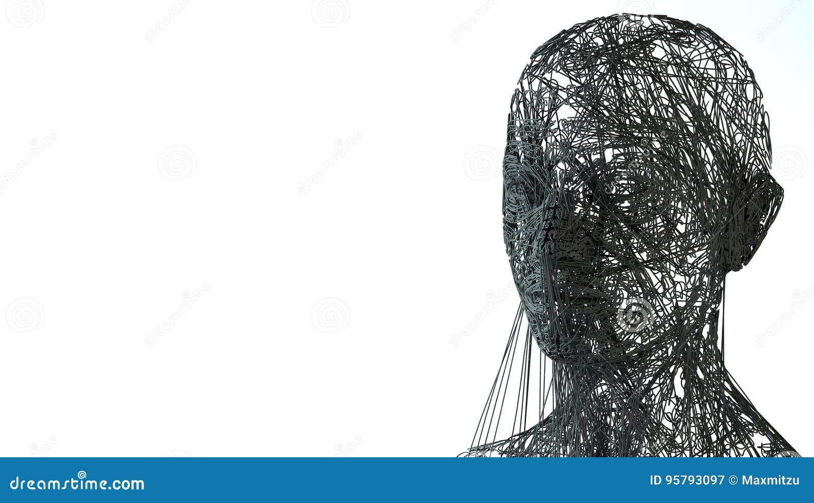 Face Portrait. 3D Wireframe Head Stock Illustration - Illustration ...