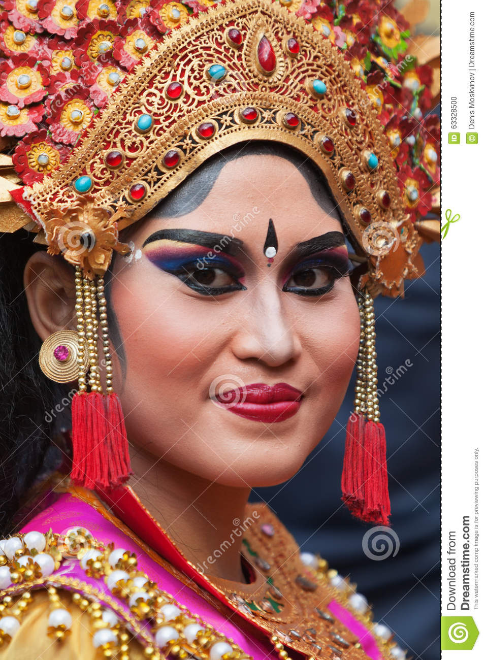Beautiful Balinese Style House In Hawaii: Face Portrait Of Young Balinese Woman Editorial Image