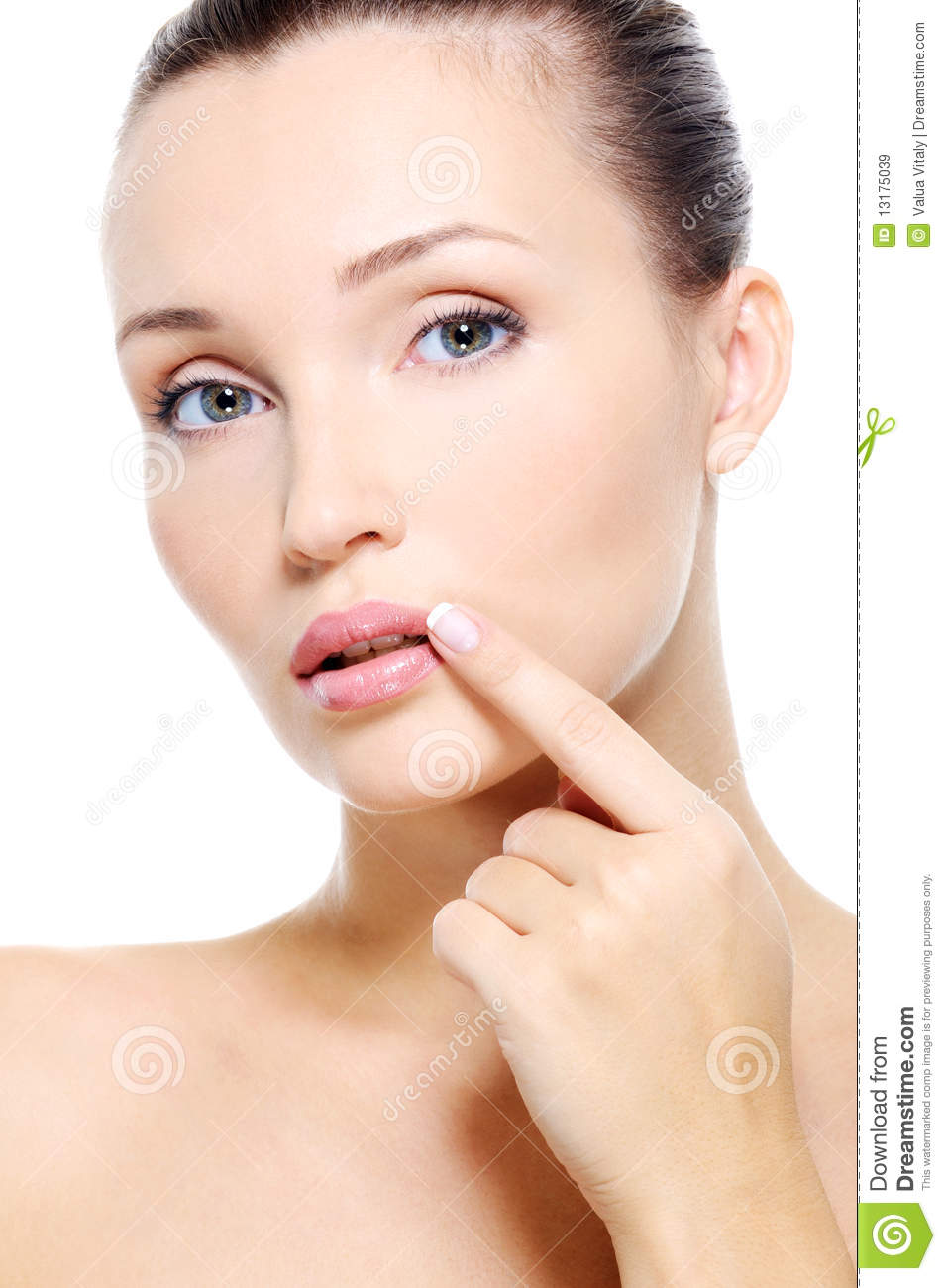Face of a Pretty young woman touch to lips