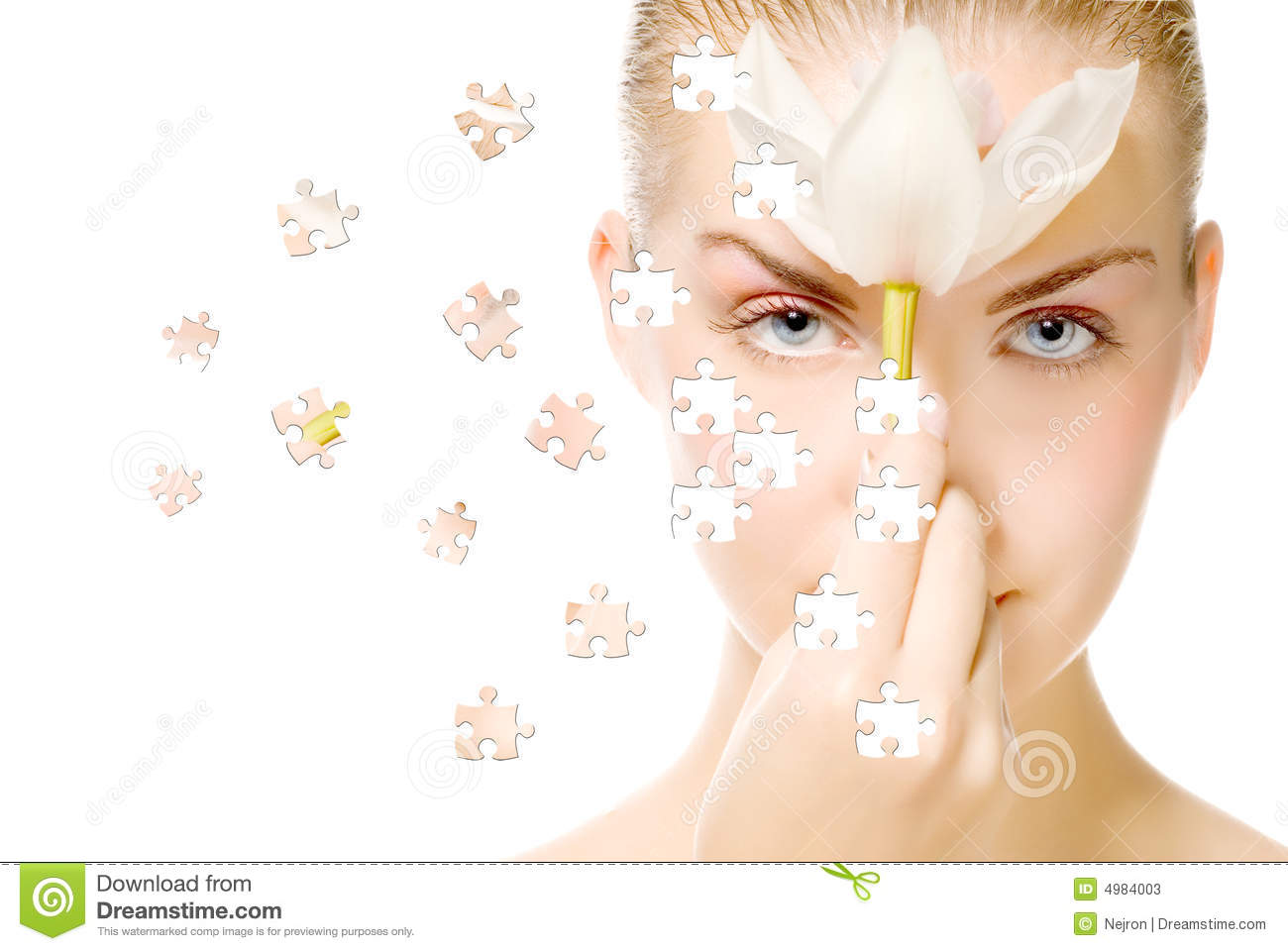 Face with puzzle effect