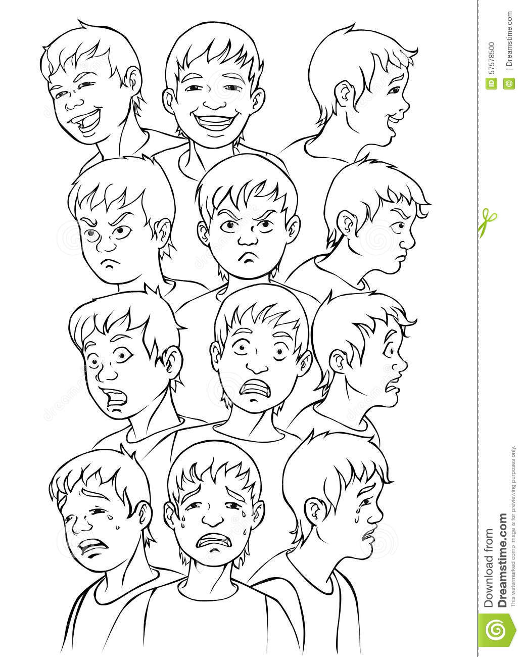 faces expressions for coloring stock vector
