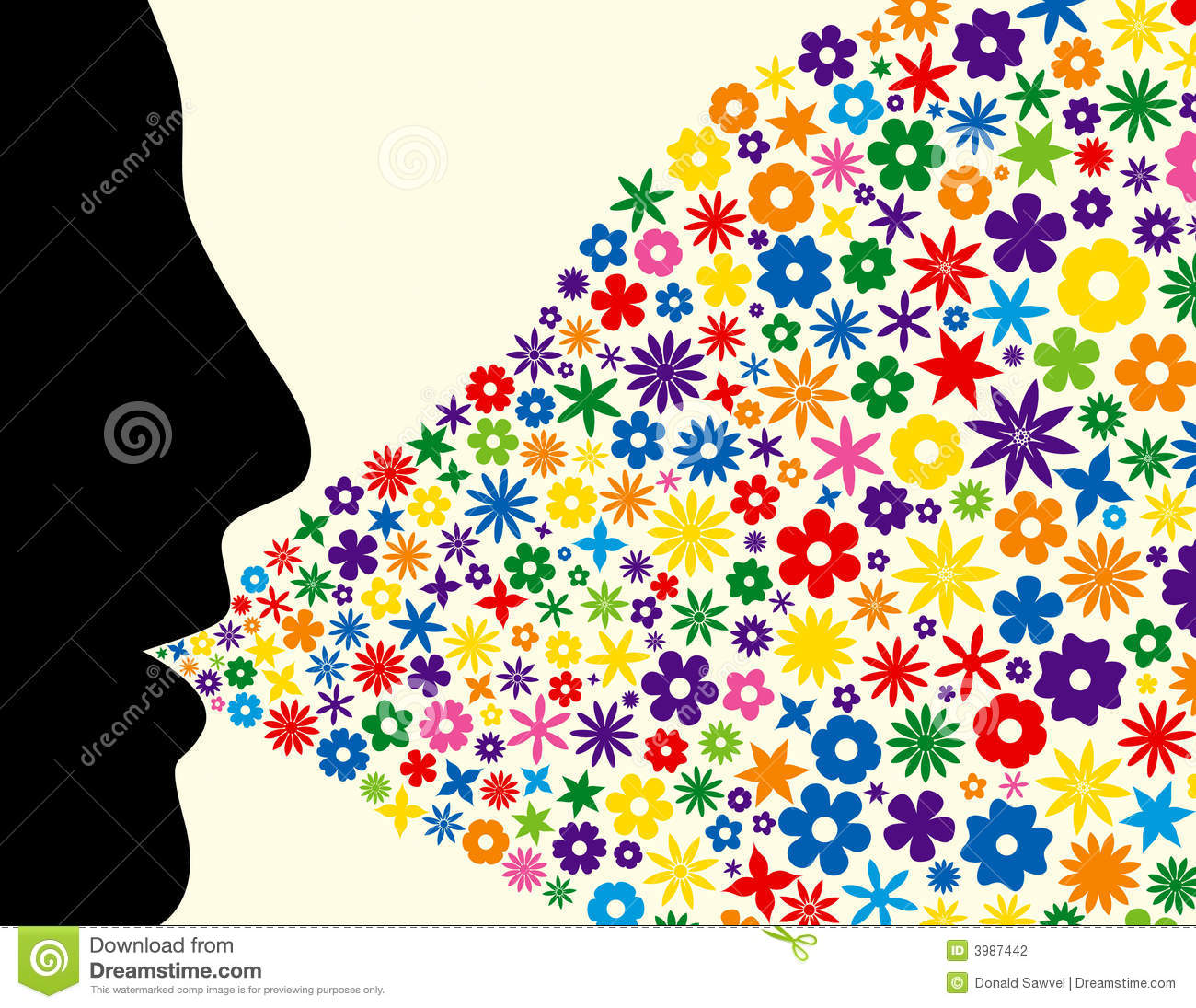 Image result for guy profile silhouette image with floral ...  Face Profile Silhouette Blowing